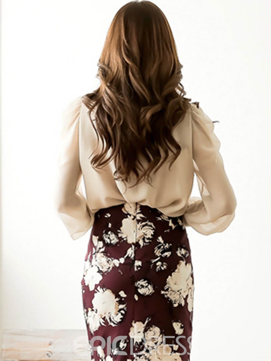 Ericdress Elegant Solid Color Lace-Up Blouse