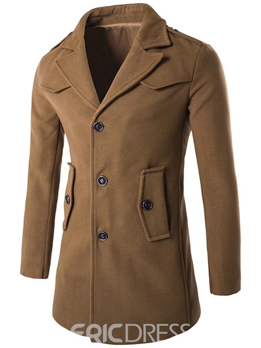Ericdress Solid Color Single-Breasted Men's Wool Coat