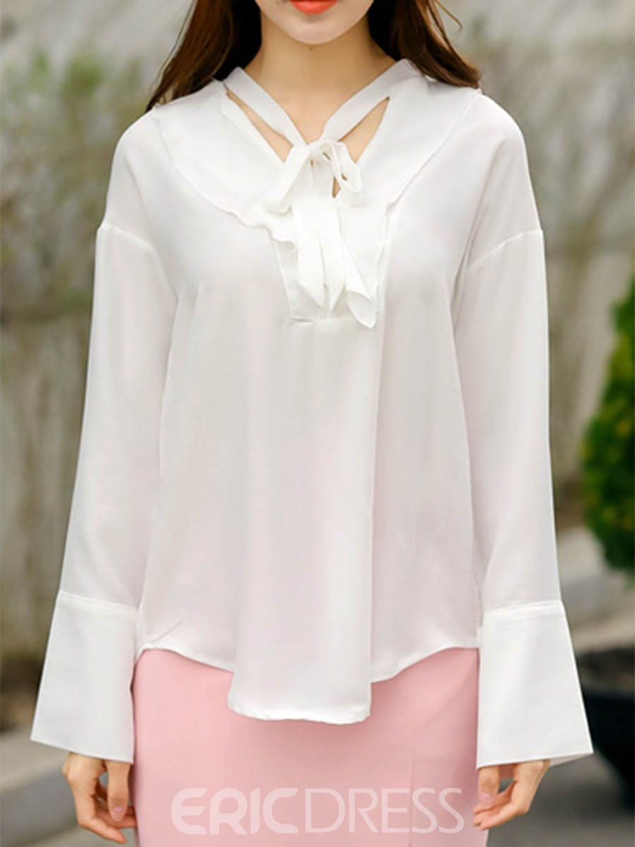 Ericdress Solid Color Chiffon Lace Up Blouse