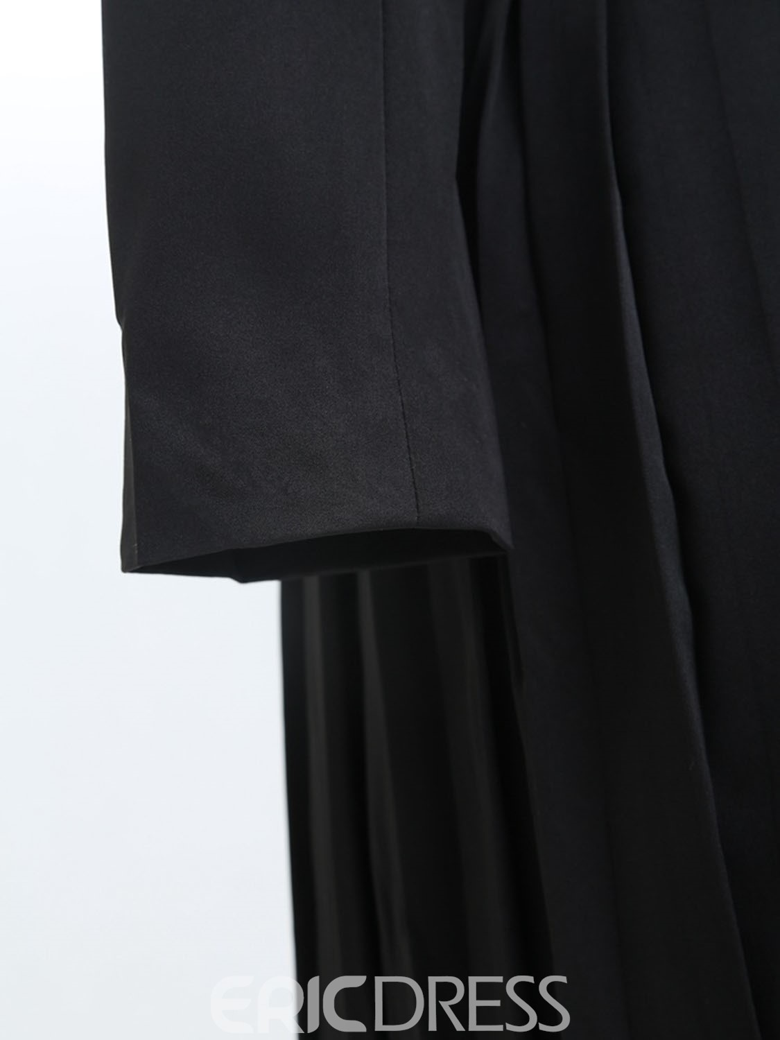 Ericdress Slim Solid Color Polo Pleated Trench Coat