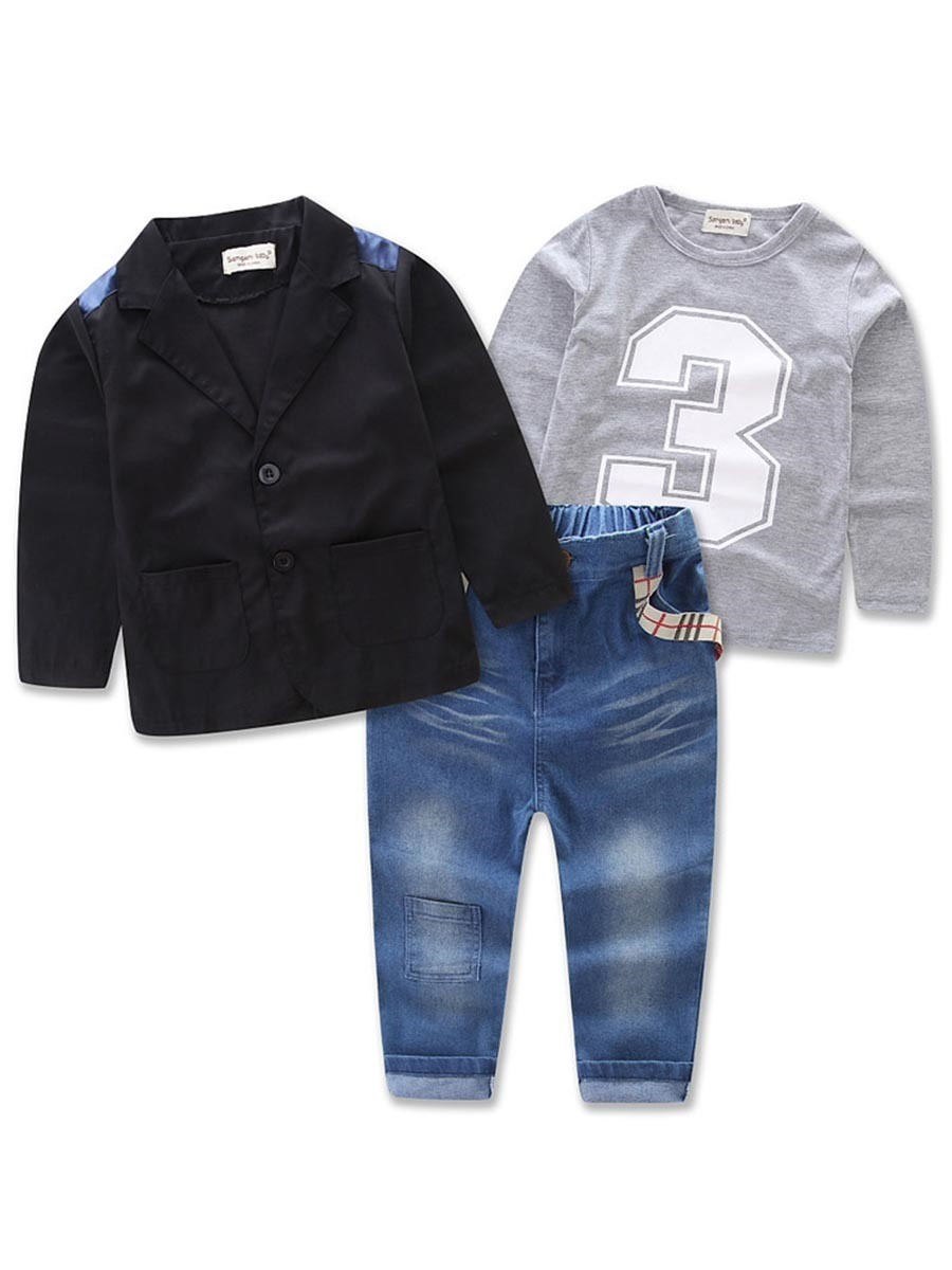Ericdress Number Print T-Shirt Blazer Jeans 3-Pce Boys Outfit
