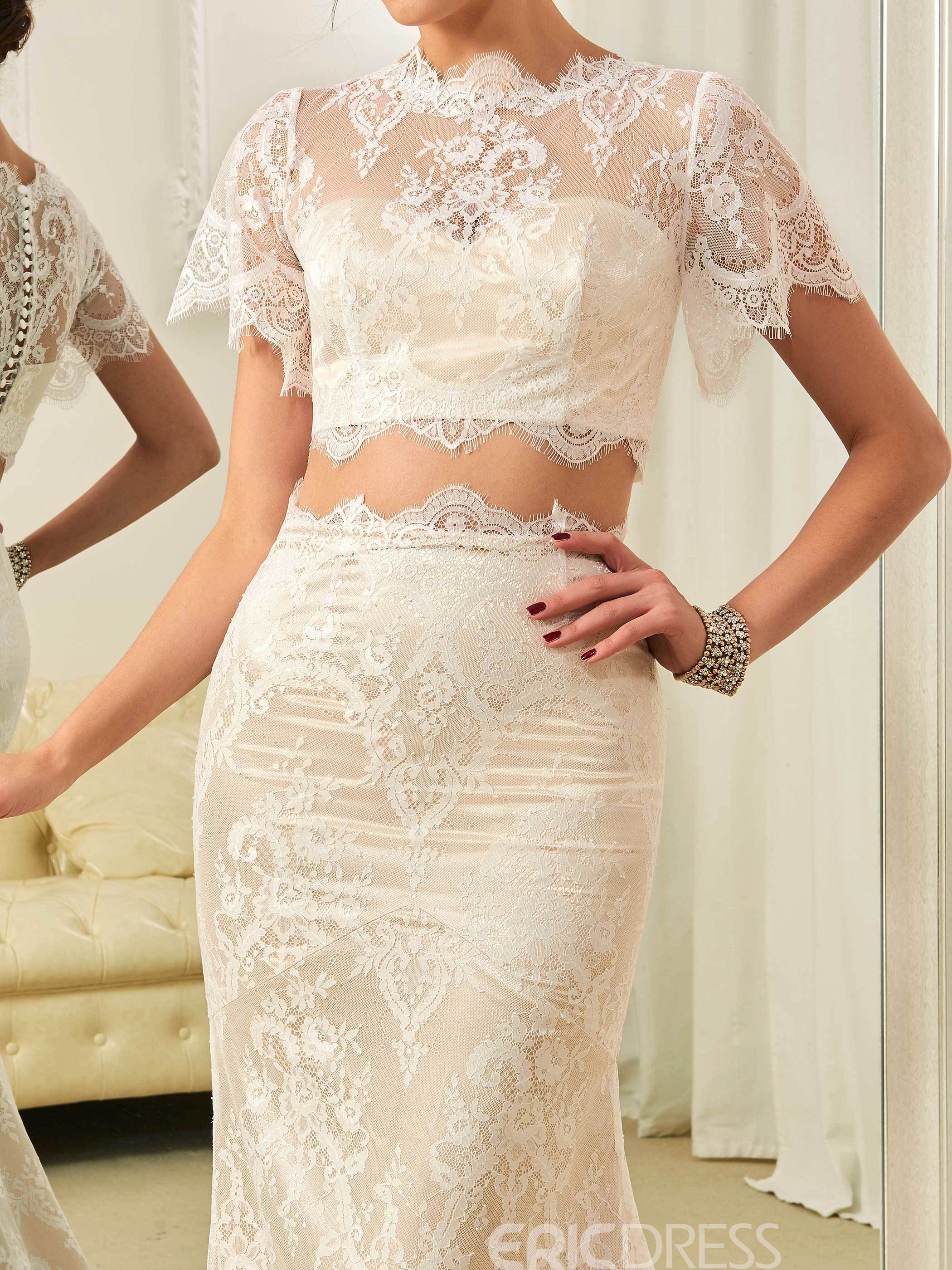 Ericdress Charming Jewel Two Pieces Mermaid Lace Wedding Dress