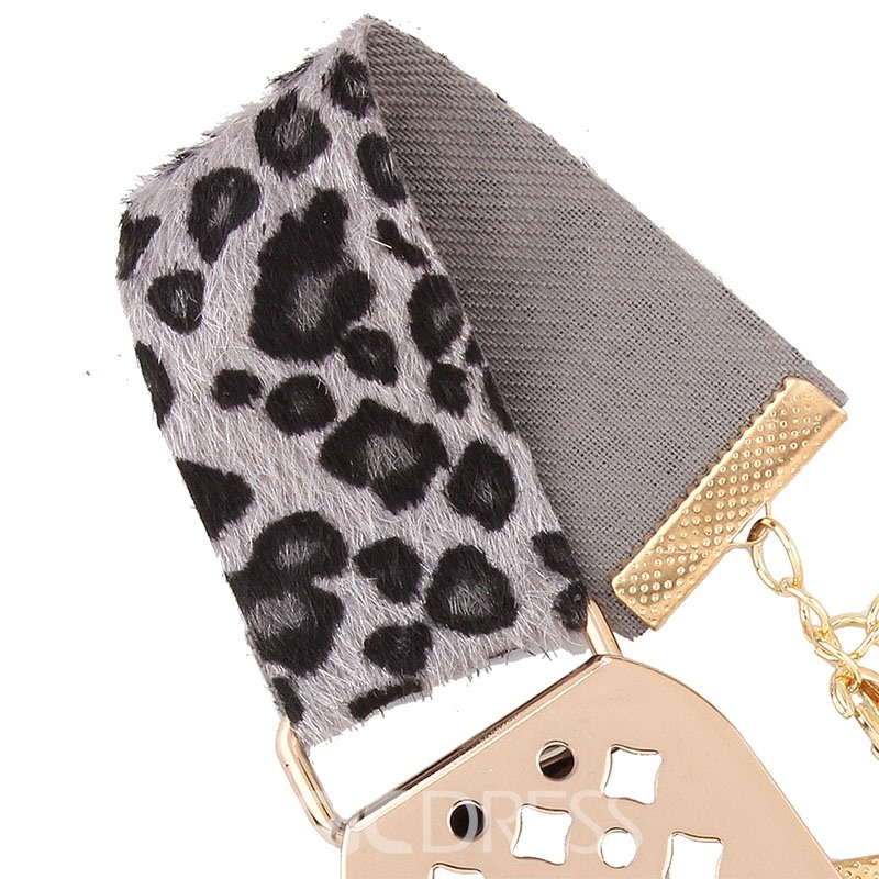 Ericdress Rectangle Design Leopard Velvet Choker Necklace