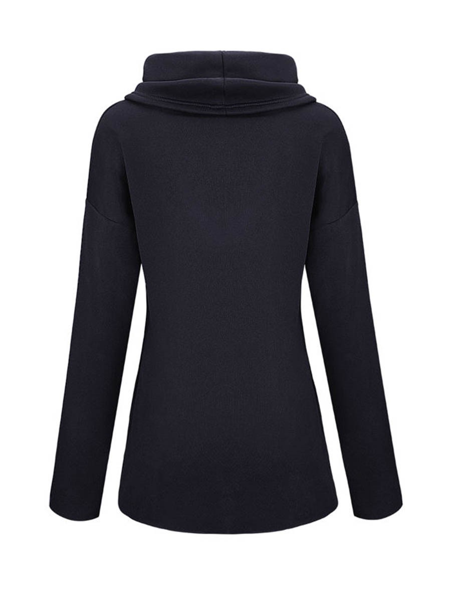 Ericdress Solid Color Heap Cowl Neck Hoodie
