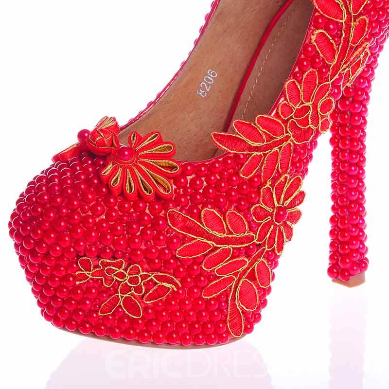 Ericdress Red Beads Ultra-High Heel Wedding Shoes
