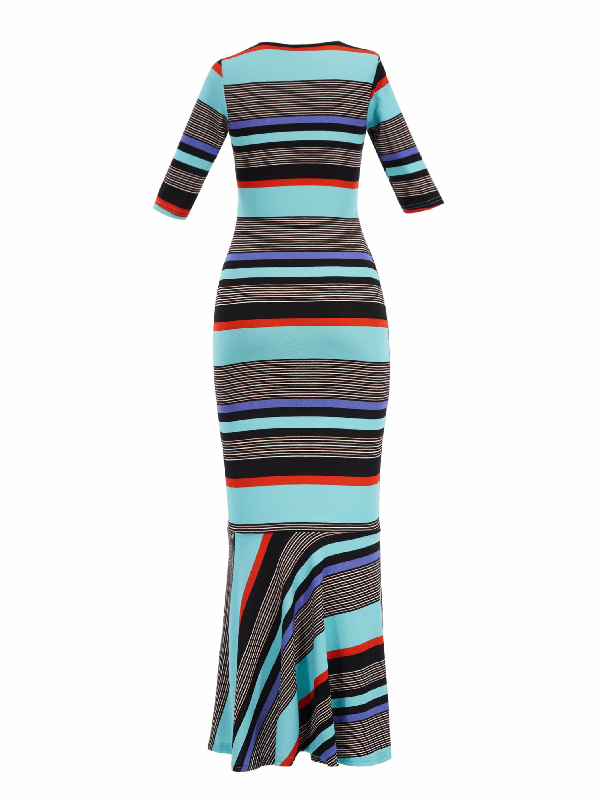 Ericdress Color Block Stripe Mermaid Dress