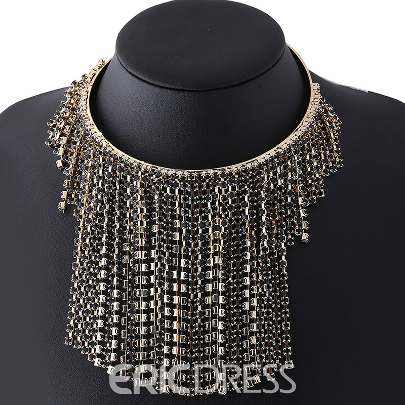 Ericdress Rhinestone Tassels Alloy Choker Necklace