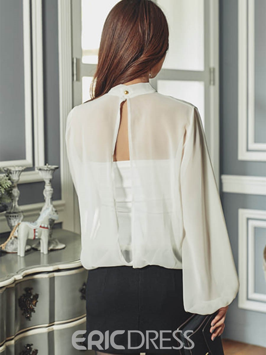 Ericdress Pleatedm Split Back White Blouse