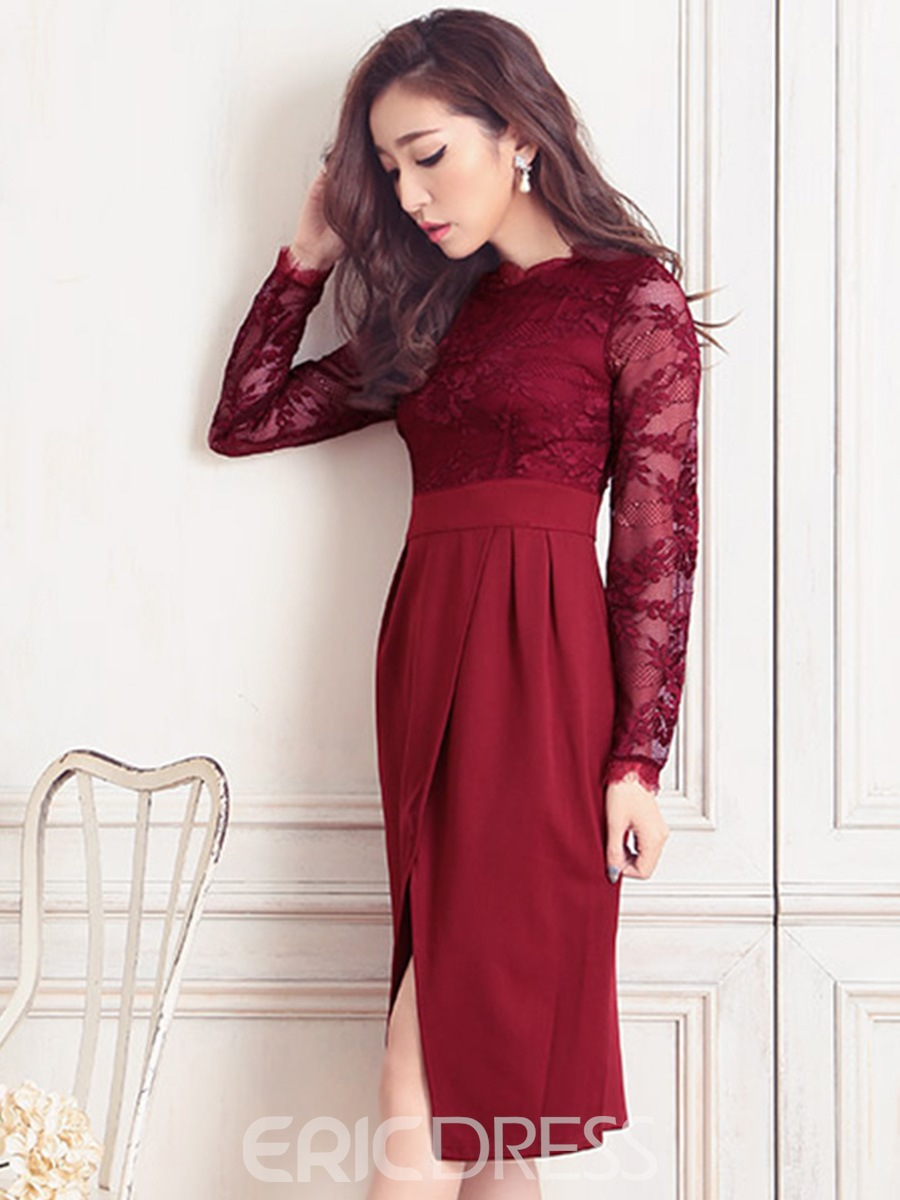 Lace Patchwork High-Waist Bodycon Dress