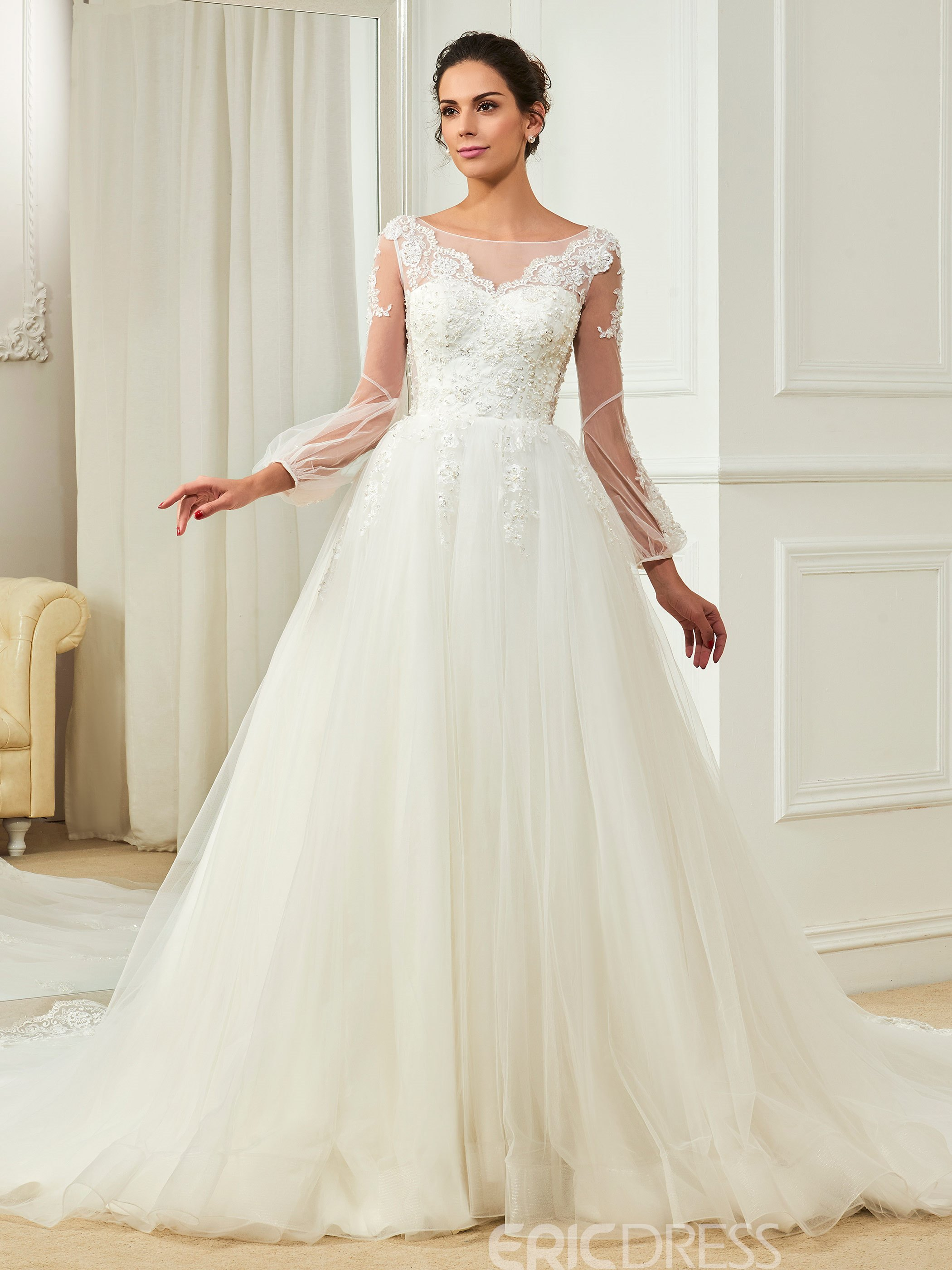 786591d65489 Ericdress Charming Bateau Appliques Beaded A Line Long Sleeves Wedding Dress