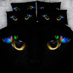 Image of 3D Astonishing Cat Eyes Printed Cotton 4-Piece Black Bedding Sets/Duvet Covers