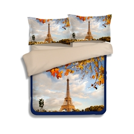 Eiffel Tower with Autumn Leaves Print 4-Piece Polyester Duvet Cover Sets