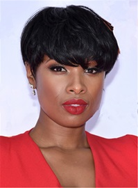 Ericdress Jennifer Hudson Short Boy Cuts Straight Human Hair Capless African American Wigs 6 Inches