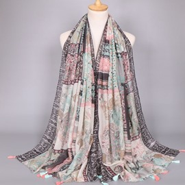 Ericdress Cashew Printed Voile Tassels Scarf