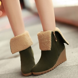 Ericdress Suede Side Zip Wedge Heel Ankle Boots