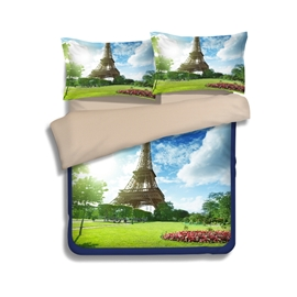 Grassland With Eiffel Tower Print 4-Piece Polyester Duvet Cover Sets