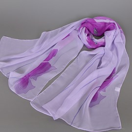 Ericdress Classic Flowers Printed Chiffon Scarf