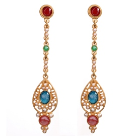 Ericdress Golden Long Water Droplets Flower Earrings