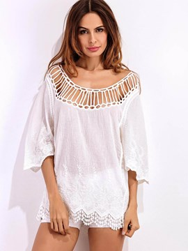 Ericdress Hollow Half Sleeve Sexy Blouse