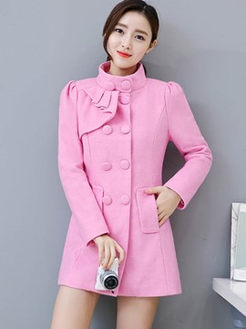 Ericdress Stand Collar Asymmetric Solid Color Coat