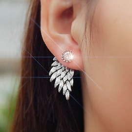 Ericdress Full Rhinestone Angel's Wings Earrings