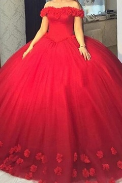 Ericdress Off-the-Shoulder Ball Gown Flowers Red Quinceanera Dress