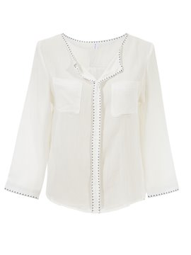 Ericdress White Pocket Casual Blouse