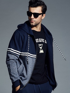 Ericdress Plus Size Stripe Zip Loose Casual Men's Hoodie