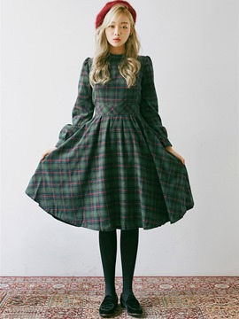 Ericdress Japanese Plaid Stand Collar Pleated Casual Dress