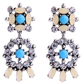 Ericdress Artificial Gemstones Inlaid Round Diamante Earrings