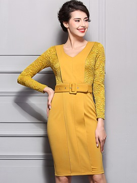 Ericdress V-Neck Embossing Patchwork Belt Sheath Dress