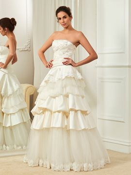 Ericdress High Quality Appliques Beaded Strapless Wedding Dress