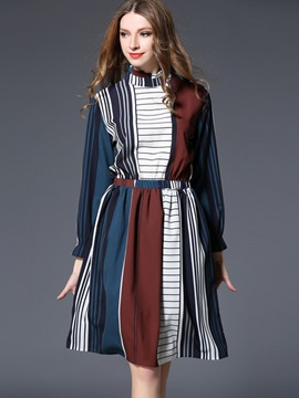 Ericdress Stand Collar Color Block Elastic Patchwork Casual Dress
