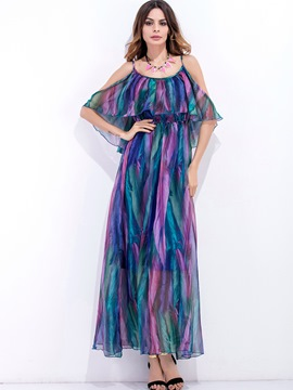 Ericdress Spaghetti Strap Platinum Plated Patchwork Maxi Dress
