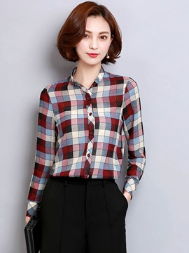 Ericdress Plaid Sing-breasted Blouse