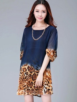 Ericdress Leopard Patchwork Elastic Half Sleeve Casual Dress