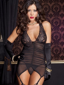 Ericdress Black Halter Deep V-Neck Backless Chemise