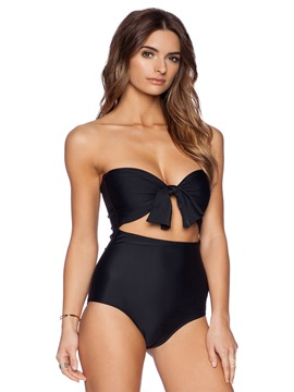 Ericdress Plain Strapless Midriff-Baring One Piece Swimwear