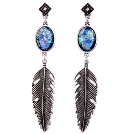Ericdress Artificial Gem Inlaid Alloy Feather Earrings