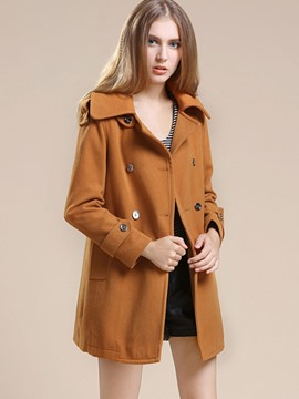 Ericdress Solid Straight Color Double-Breasted Coat