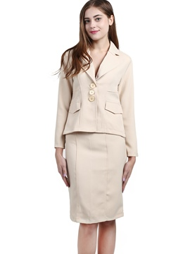 Ericdress Notched Lapel Single-Breasted Skirt Suit