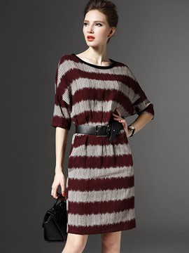 Ericdress Pleated Strip Color Block Batwing Sleeve Casual Dress