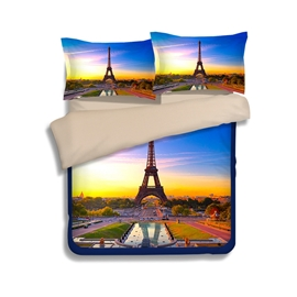 Famous Eiffel Tower Print 4-Piece Polyester Duvet Cover Sets