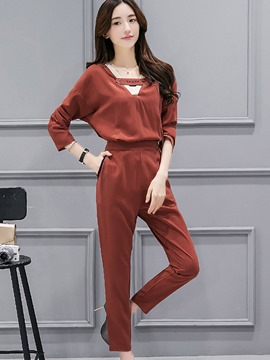 Ericdress Solid Color Hollow V-Neck Long Sleeve Pants Suit
