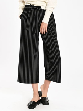 Ericdress Stripe Bowknot Lace-Up Wide Legs Pants