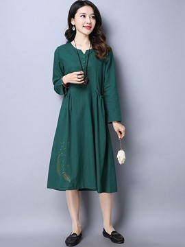 Ericdress Embroidery Single-Breasted Pleated Pocket Maxi Dress