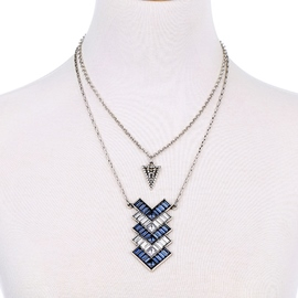 Ericdress Double Layers Blue Rhinestone Necklace