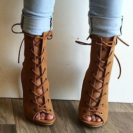 Ericdress Lace Up Peep Toe Sandal Booties