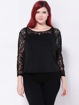 Ericdress Black Lace Crochet Plus Size Blouse