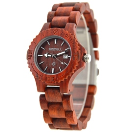 Ericdress Wooden Strap Luminous Pointer Design Watch